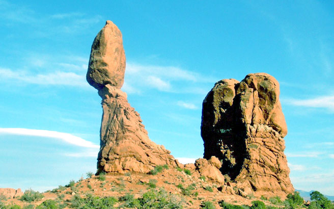 The balanced rock, Chiricahua National Monument (Arizona. USA). Roccia di origine vulcanica