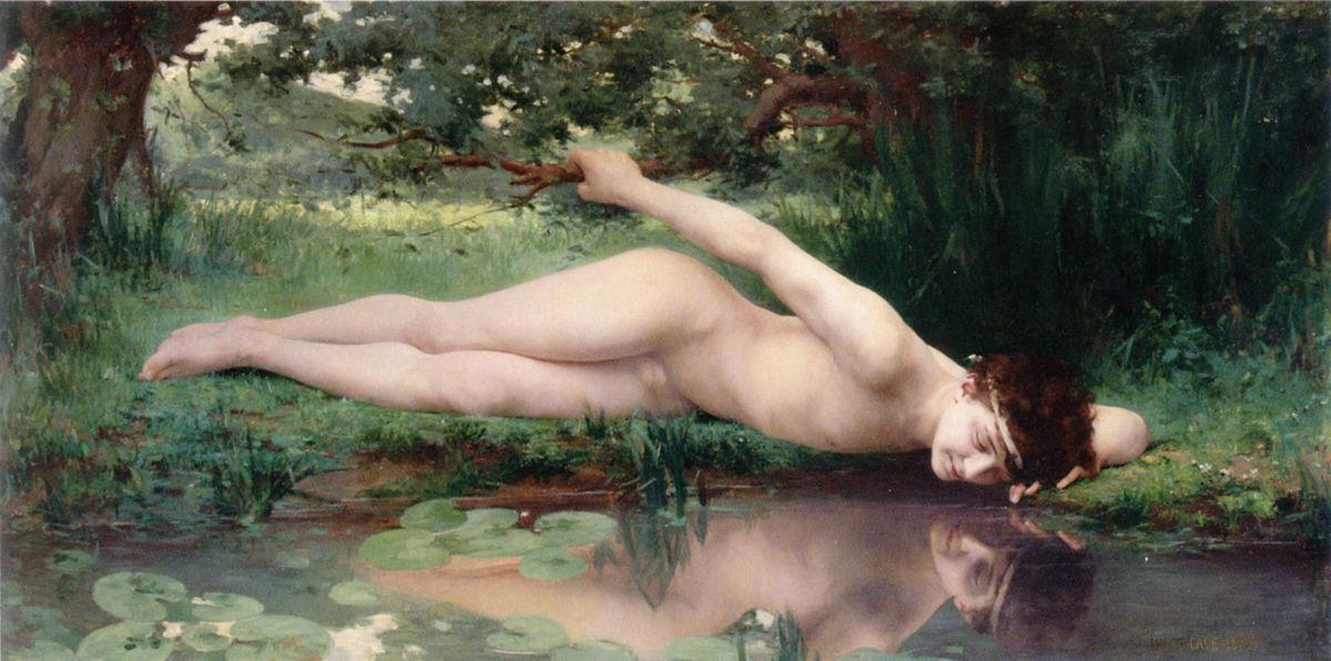 Narcissus, 1890, opera di Jules-Cyrille Cavé  (1859–1946)