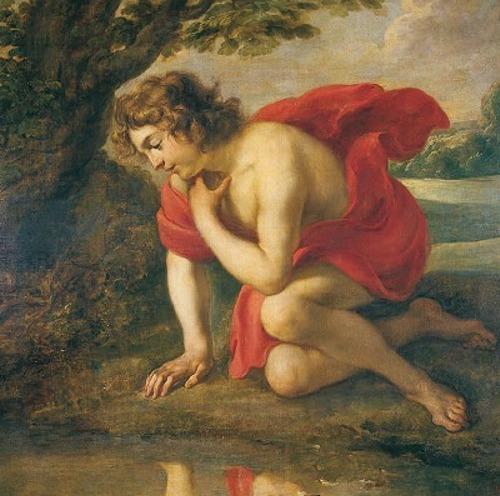 Mito di Narciso: Narciso alla fonte, olio su tela di Jan Cossiers