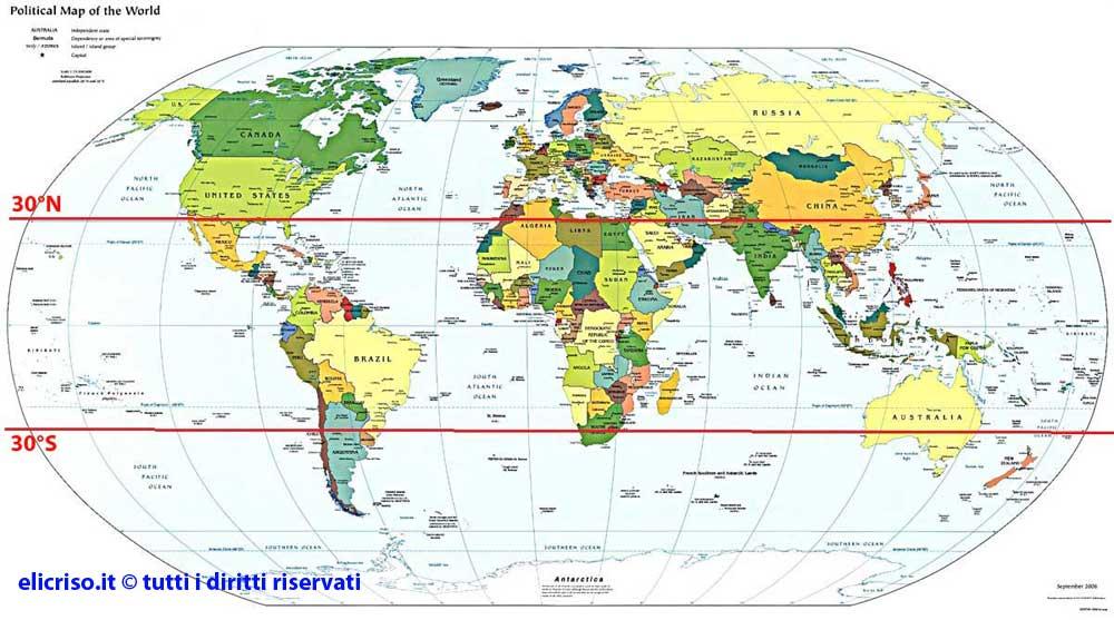 Cartina politica del mondo dove sono originarie le piante grasse